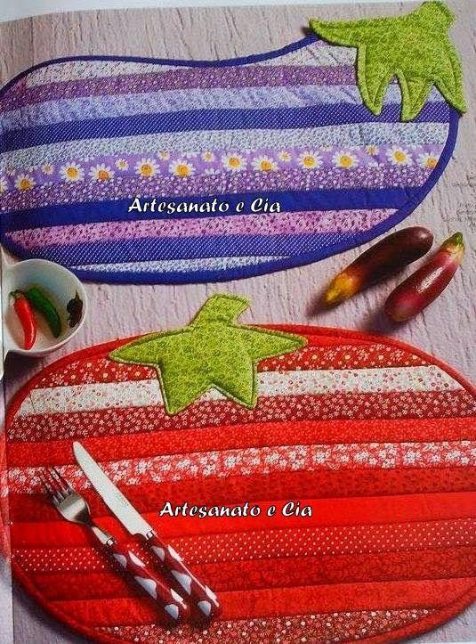 Artesanato e Cia : Jogo americano de futas e legumes em Patchwork