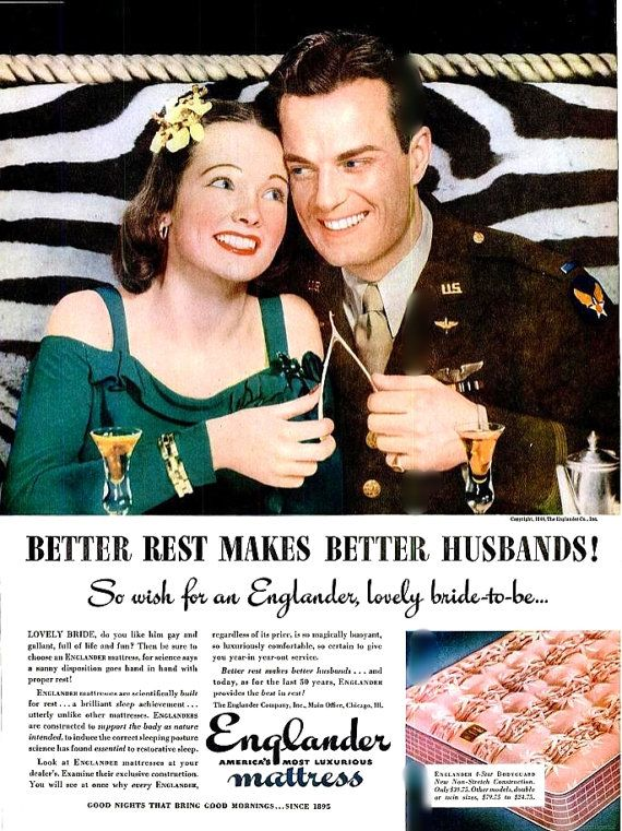 1944 Englander Mattress WWII Wedding Couple by LaOohLaLaBoutique