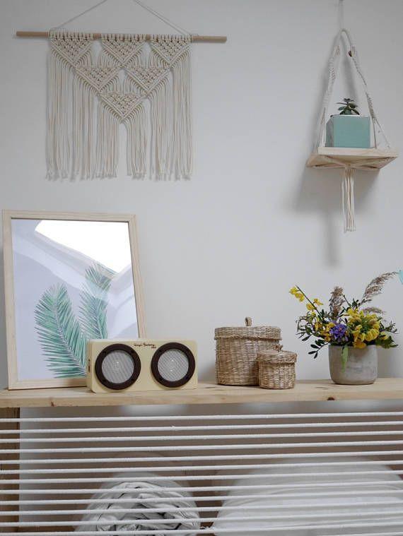 BRICKELL Tenture Murale en Macramé, baguette en bois, noeud plat et noeud baguette  Macrame wall hanging  South Beach Collection