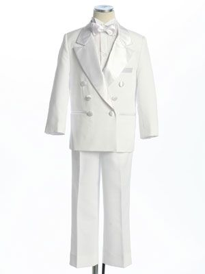 White Double Breasted Boy's Tuxedo without Tail at MyGirlDress