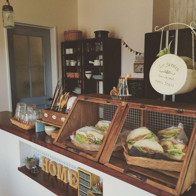サンドイッチ/Kitchen/セリア/リメイク/DIY/手作りショーケース…などのインテリア実例 - 2016-03-24 13:09:16 | RoomClip(ルームクリップ)