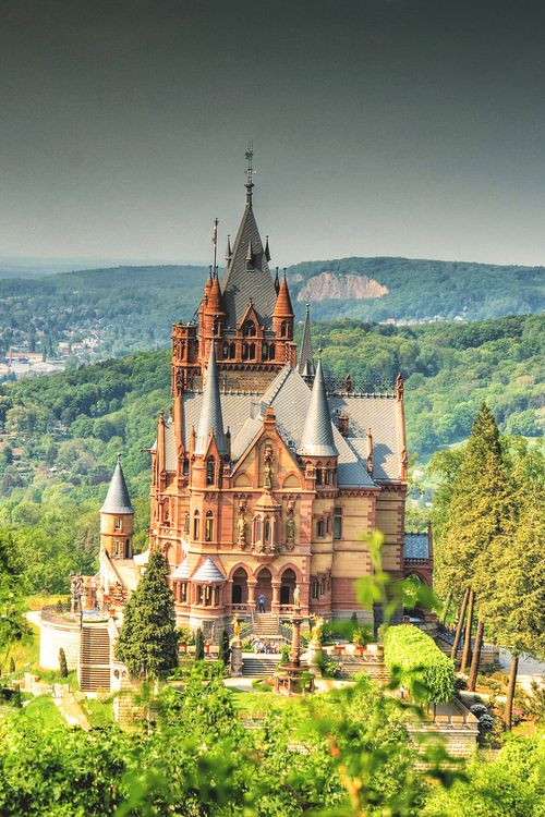 Schloss Drachenburg. It was built in 1882 so it's a little later than I usually like, but look at those steps!
