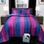 Striped Blue and Plum Metallic Queen 3-Piece Comforter Set, Purples/Lavenders