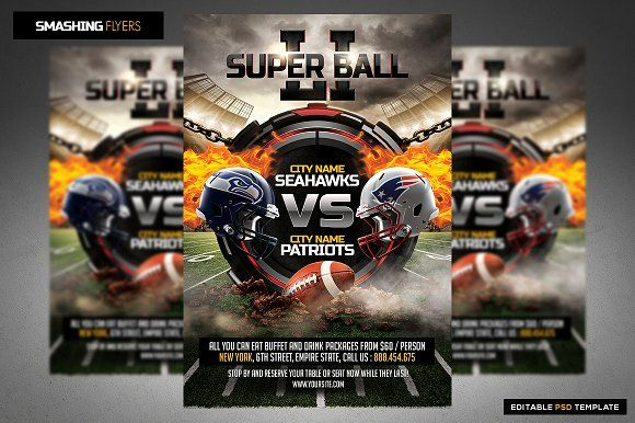 American Football Flyer Template by Smashing Flyers on @creativemarket