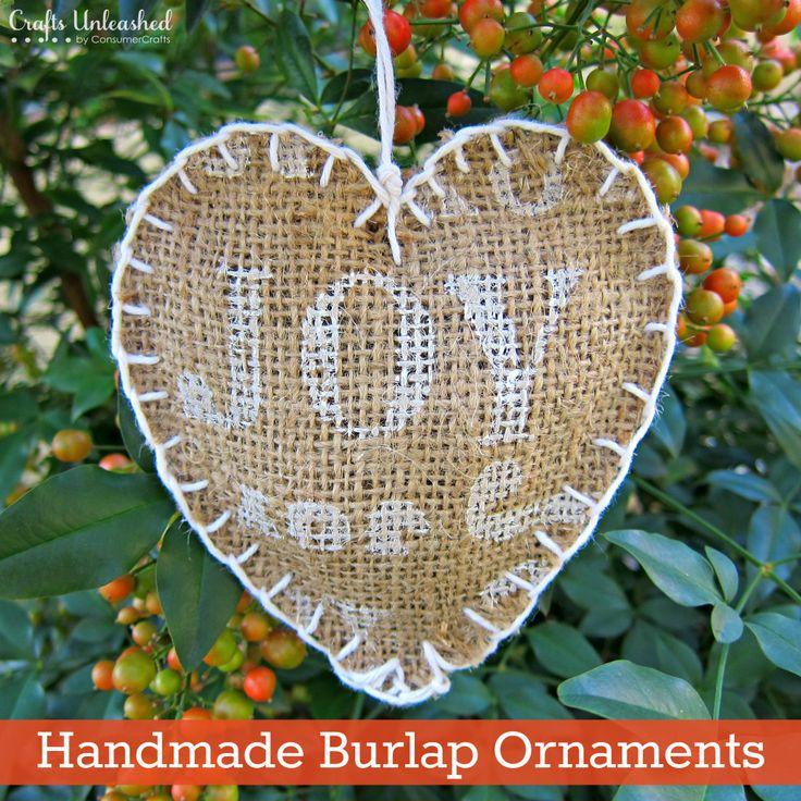 "Handmade Gift Challenge: ""Joyful"" Burlap Homemade Ornaments"