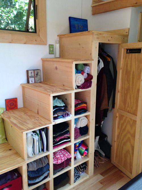 Tiny house stair storage- I would definitely add cabinets doors or drawers so things are hidden yet reachable.                                                                                                                                                                                 More