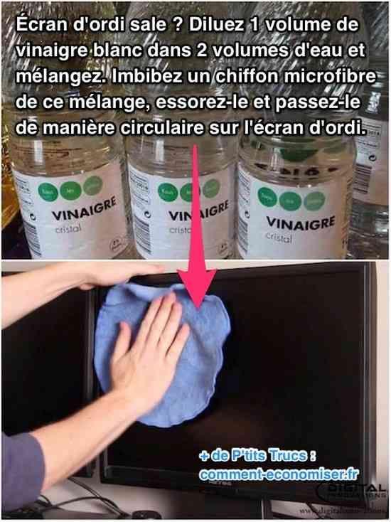 Utilisez un coton imbibé de vinaigre et d'eau pour nettoyer écran ordi