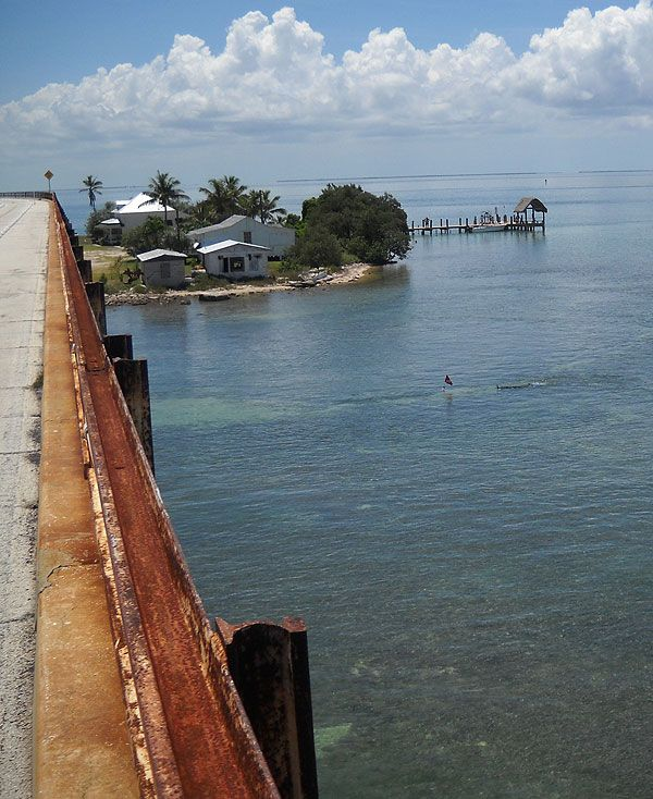 Old 7 Mile Bridge, Marathon, Florida. If you're interested in the old bridge, you better come ride or walk it while you can. It is deteriorating and Monroe County and the State of Florida can't find the money to maintain it.