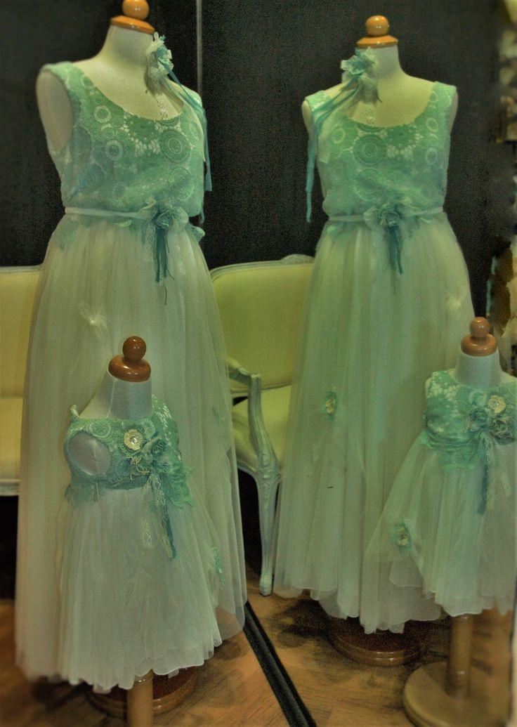 romantic, vintage inspired, handmade byerofili design, mama & daugther dress, wedding & baptism, custom made, silk tulle, cotton handmade crochet lace, white, mint