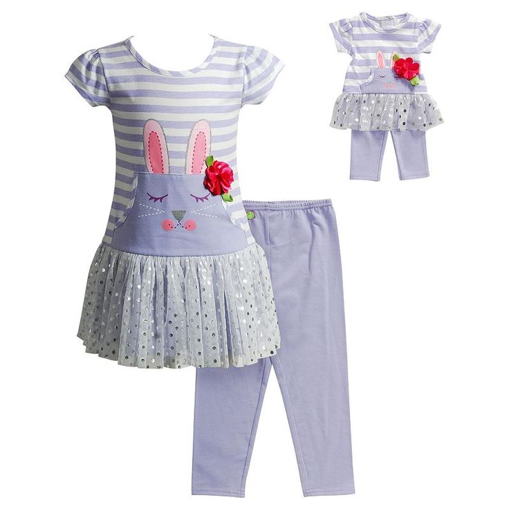 Girls 4-14 Dollie & Me Bunny Drop-Waist Dress & Capri Leggings Set, Girl's, Size: 6X, Lt Purple