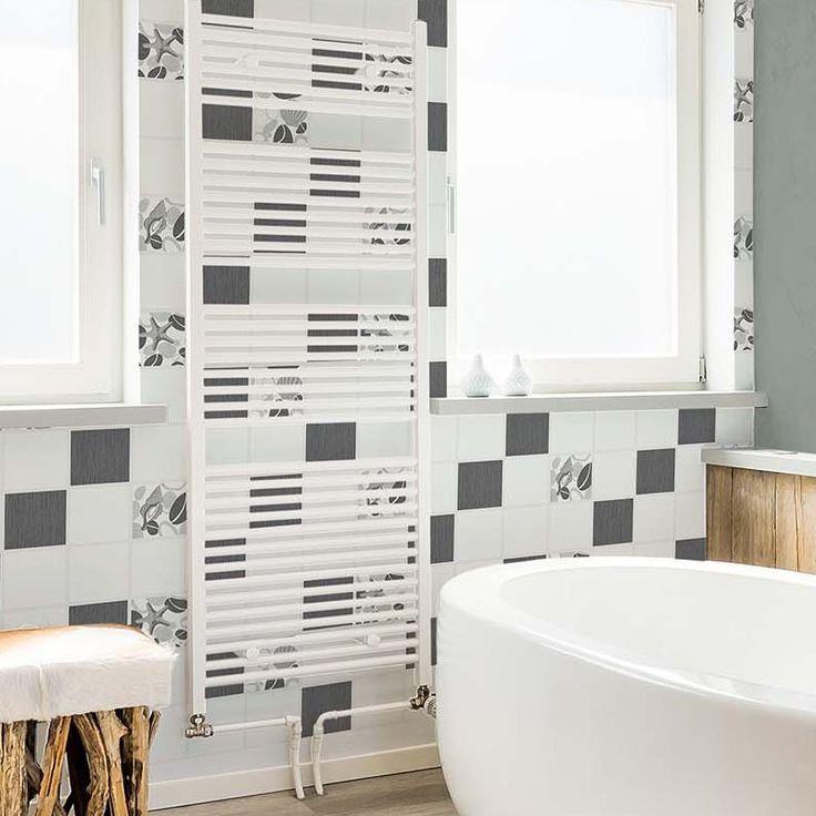 Bathroom Wallpaper - Crown Beach Pebble Tile Black White Glitter Wallpaper - http://godecorating.co.uk/crown-beach-pebble-tile-black-white-glitter-wallpaper/