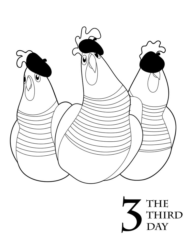 three french hens coloring pages - photo#14