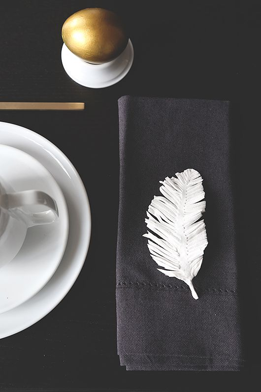 Feathers have caught on a little here in the States, but we're excited to see a full-blown feather epidemic, as seen in this Swedish Easter tablescape. (But let's go with fake feathers, okay?)