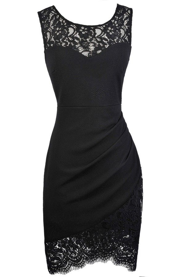 Lace Trim Pencil Dress with Crossover Hem in Black