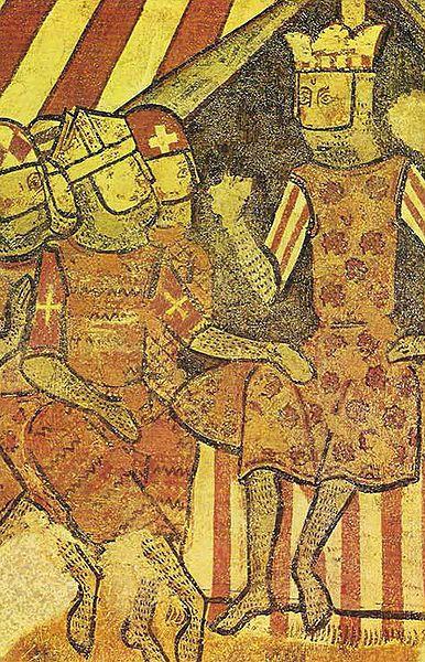 El rei Jaume I d'Aragó amb el bisbe de Barcelona Berenguer de Palou i els magnats Bernat de Centelles i Gilabert de Cruïlles durant la Conquesta de Mallorca (1229)  (Frescos del Palau Aguilar de Barcelona. MNAC)