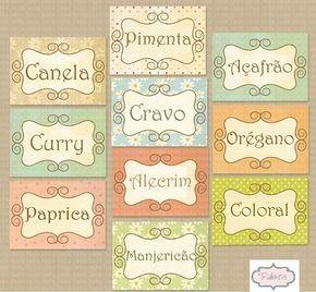 MODELO DE ETIQUETA PARA USAR NA COZINHA   Deixe a sua cozinha mais charmosa, etiqueta para potes de tempero.