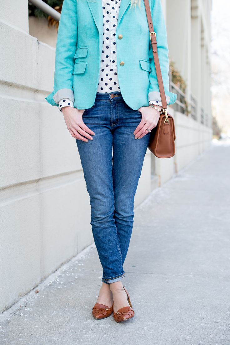 Camel Brown Black White Polka Dot Turquoise Outfit