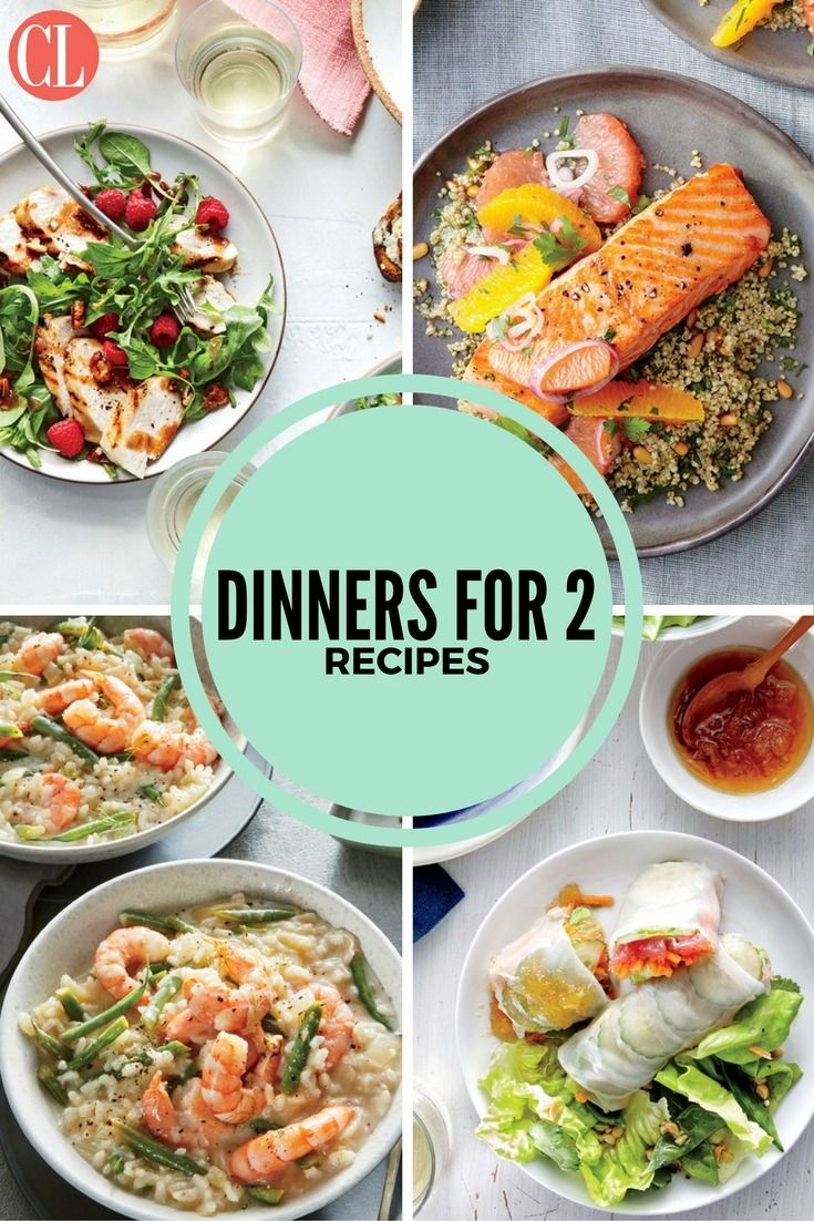 Finding recipes for two doesn't mean you have to be stuck with lots of leftovers. These delicious dinners for two range from weeknight classics to anniversary-worthy dining events. Most of these recipes are easily ready long before take out pizza could arrive on your doorstep.   Cooking Light
