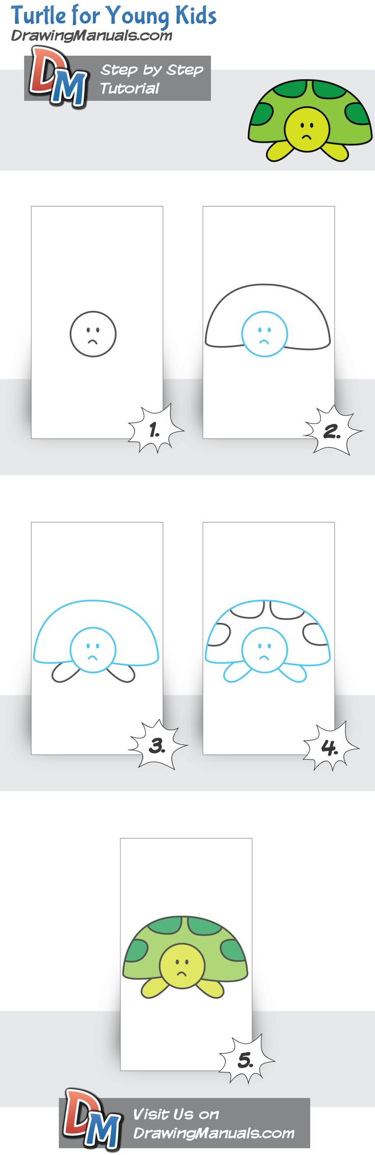 turtle for kids step by step drawing tutorial