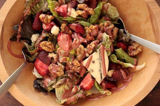 ... blue cheese, rosemary glazed walnuts + strawberry balsamic vinaigrette