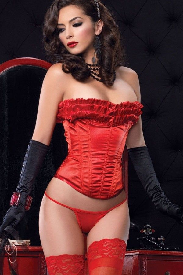 Fsqf qf women's metal busk clips sexy red mature lace dress corset top with skrit set
