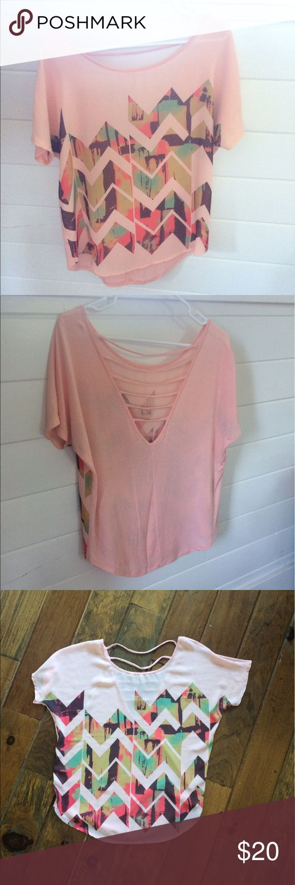 {Boheme} Chevron Top Super lightweight top, perfect for summer weather. Really cute back! Only been worn once - great condition! Boheme Tops Tees - Short Sleeve