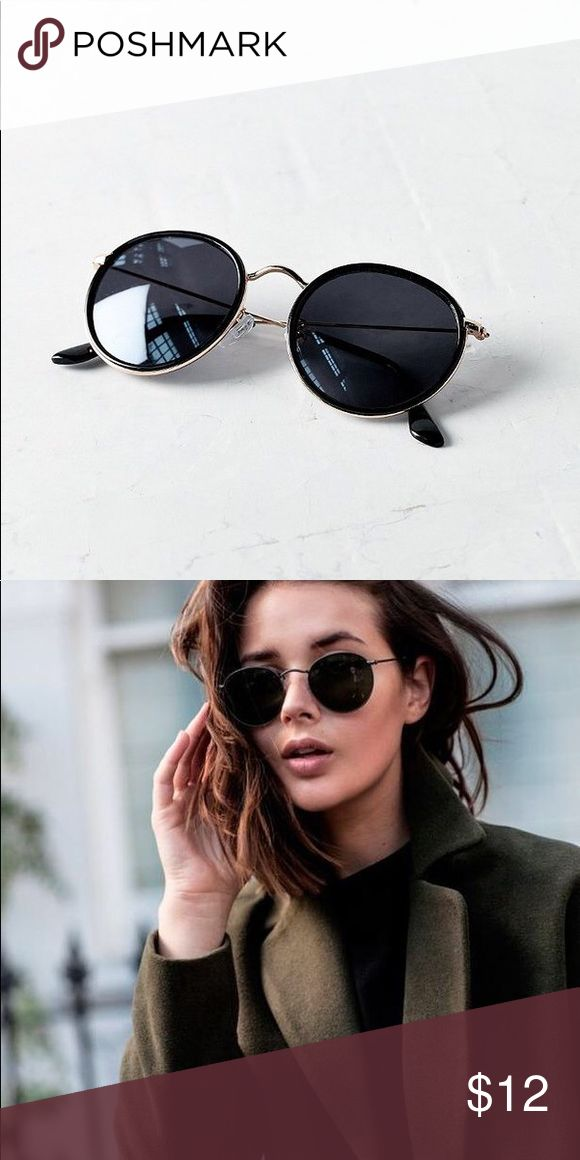 UO Sunnies ⚡️ One Size Fits All – Round Black Sunnies with metal rims and nose bridge. Worn a good amount of times, but have way too many sunglasses. It's a little Loose because of the metal Screws for the ear parts, but can easily be fixed. Still functions well. Really cute for all different shaped faces. Has 100% UV Protection! Purchased at UO store at regular price. Urban Outfitters Accessories Sunglasses