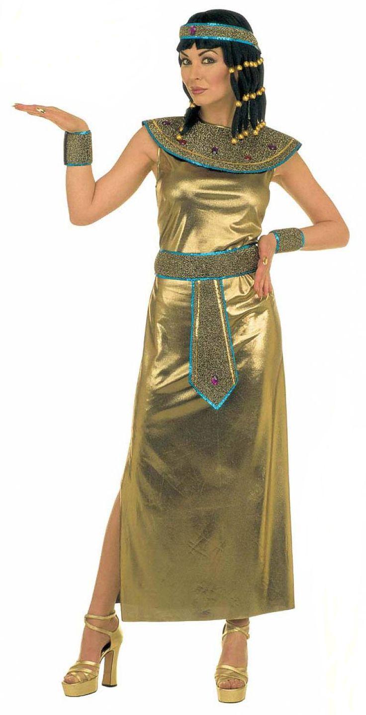 Disfraz de Cleopatra, reina de Egipto: Este disfraz de Cleopatra para mujer se compone de un vestido, un cinturón, una corona, un collar y unos manguitos. El vestido es de color dorado y está abierto en un lateral. Los...