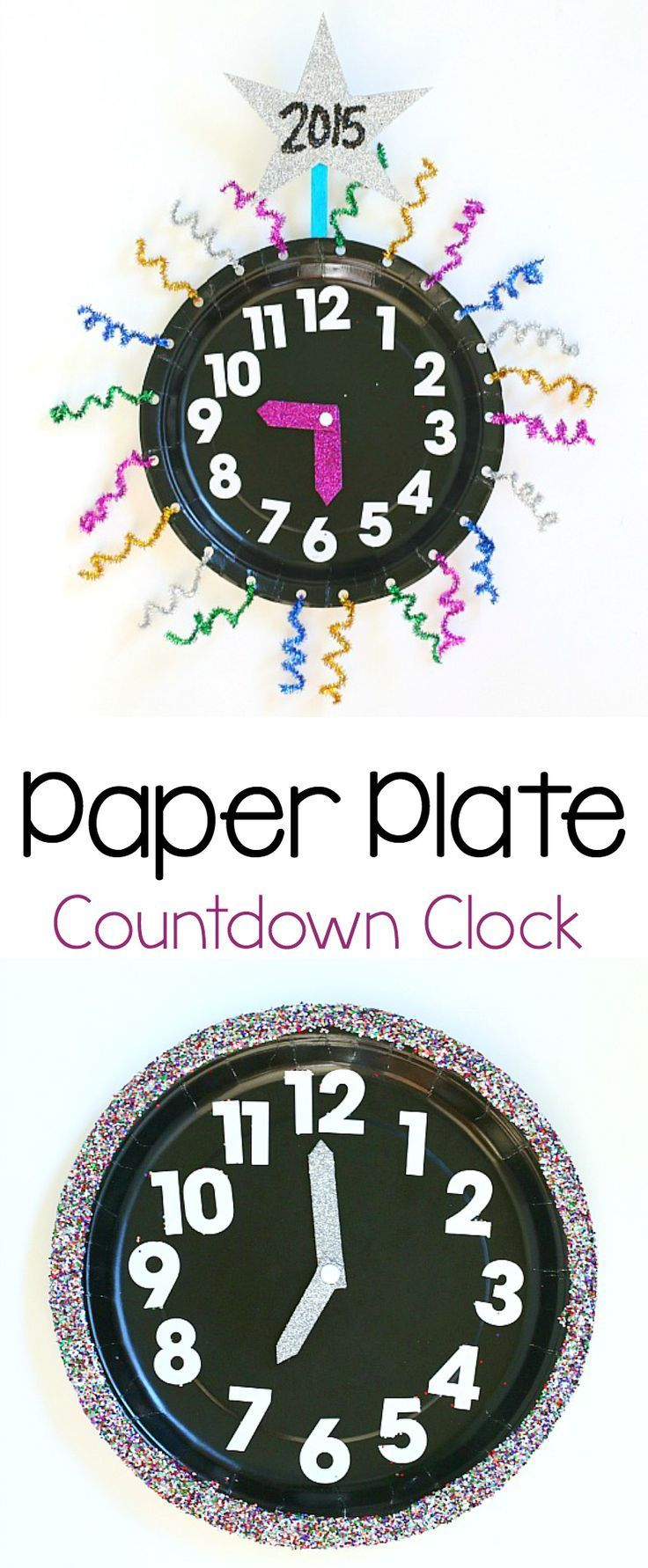 Paper Plate Countdown Clock: Count down the hours until the new year with this festive clock craft for kids! (Fun math activity for New Year's Eve!) ~ http://BuggyandBuddy.com