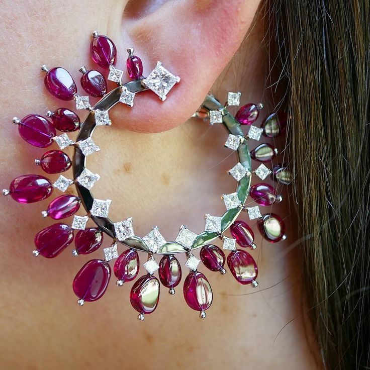 World of Reza ~ Mozambique pebble Pigeon Blood untreated ruby and diamond earrings set on white and darkned gold