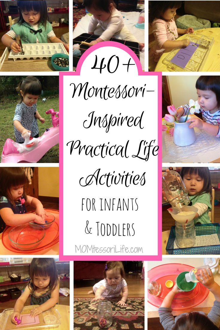 40+ Montessori-Inspired Practical Life Activities for Infants and Toddlers.  Montessori at home.