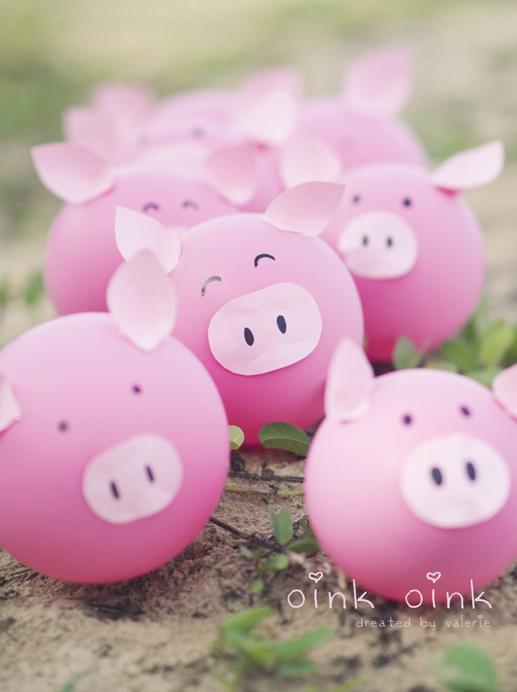 Transformando bexigas em porquinhos!
