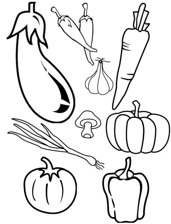 Cornucopia Vegetables Coloring Page