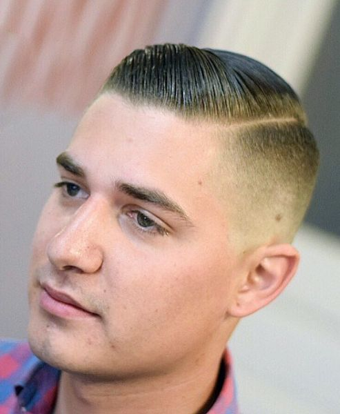combover fade haircut with line for men comb over comb