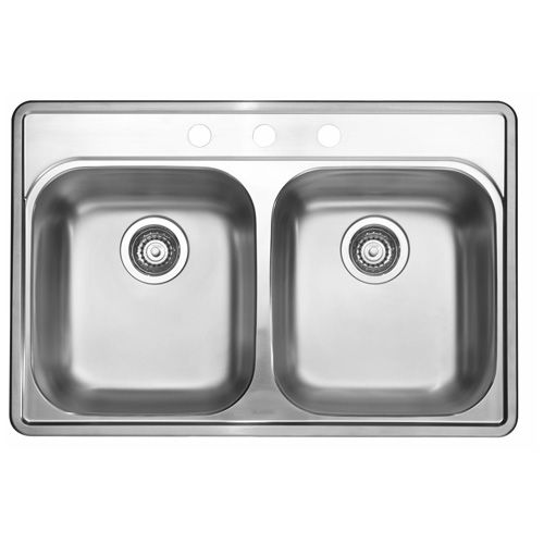"""Essential 2"" Drop In Double Sink 