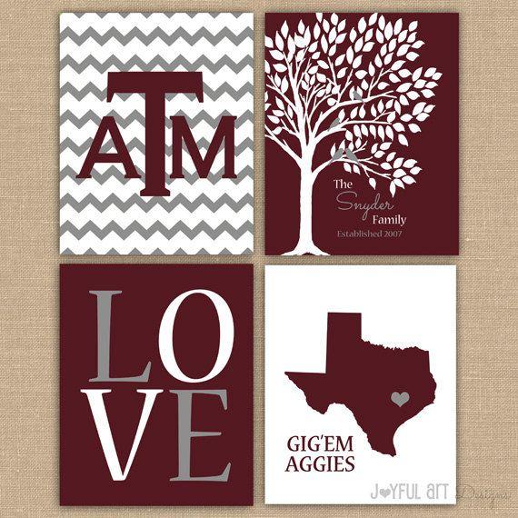 Texas A College Custom Family PRINTABLE Love Bird Tree Wall Art Entry Way  Decor GigEm Aggies Part 97