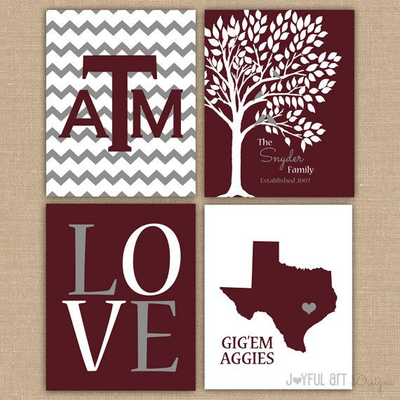 Texas A College Custom Family PRINTABLE Love Bird Tree Wall Art Entry Way Decor…
