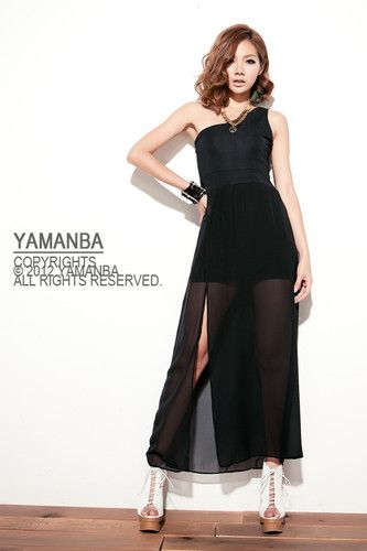 Sexy Asymmetric #One Shoulder See Through #Chiffon #Dresses Splicing Opening