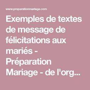 Exemples de textes de message de félicitations aux mariés - Préparation Mariage - de l'organisation à l'animation