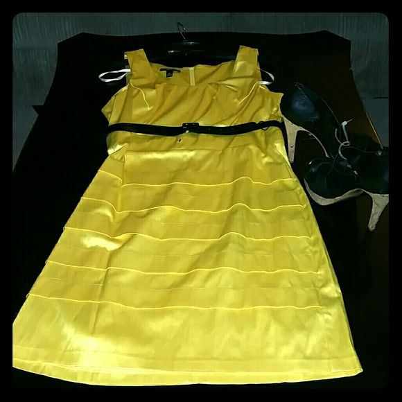 BCX Yellow Dress With Black Belt Juniors BCX Yellow Dress. 55% Polyester, 42% Cotton & 3% Spandex. Never worn. Ordered from Macy's. BCX Dresses