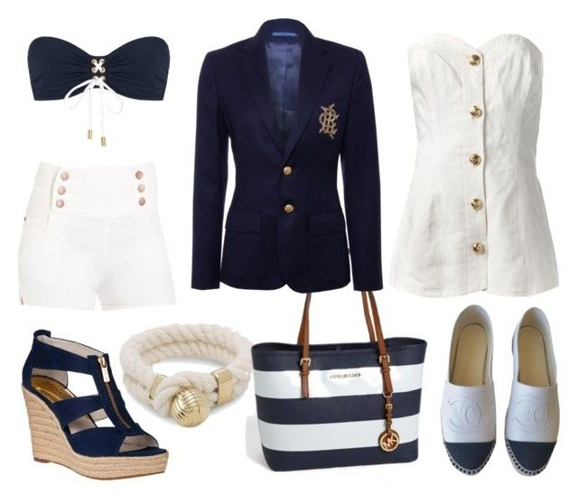 """""""sailor chic"""" by vevvs ❤ liked on Polyvore featuring Chanel, MICHAEL Michael Kors, 2b bebe, Heidi Klein, Sperry, Michael Kors, Yves Saint Laurent and Ralph Lauren"""