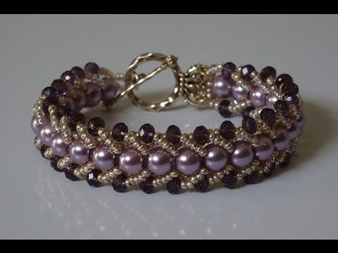 getlinkyoutube.com-How to make a beautiful and easy pearl bracelet- flat spiral stitch