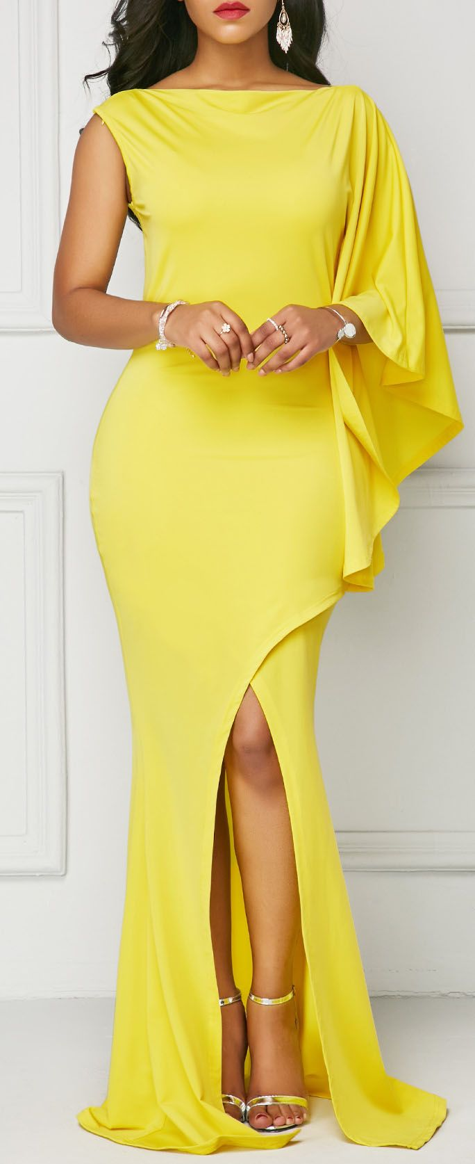 Yellow One Sleeve Front Slit Maxi Dress.