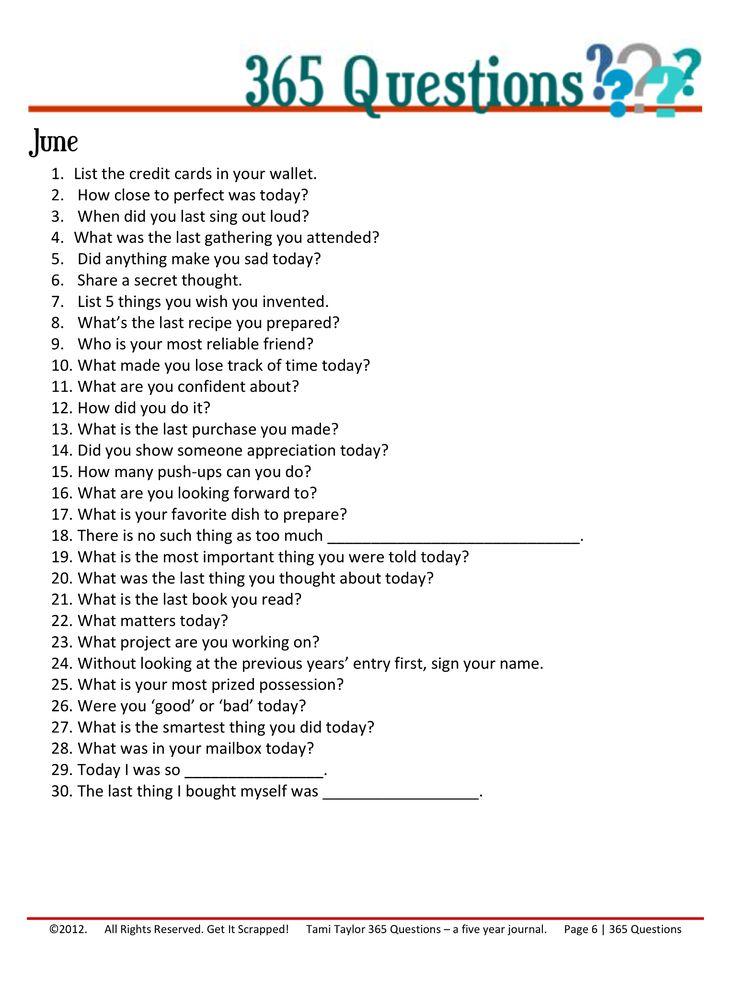 365 Questions – June 6/12