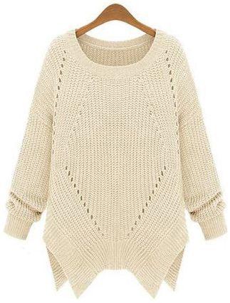 Apricot Plain Zipper Round Neck Loose Acrylic Sweater