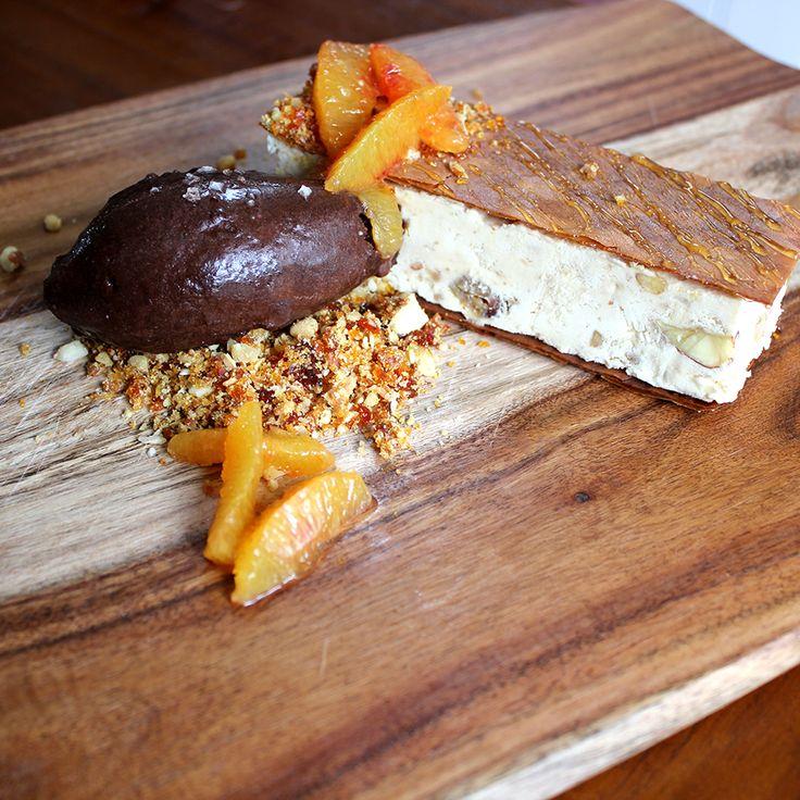 Baklava Parfait with Chocolate Sorbet and Walnut Praline Crumb from Emelia Jackson