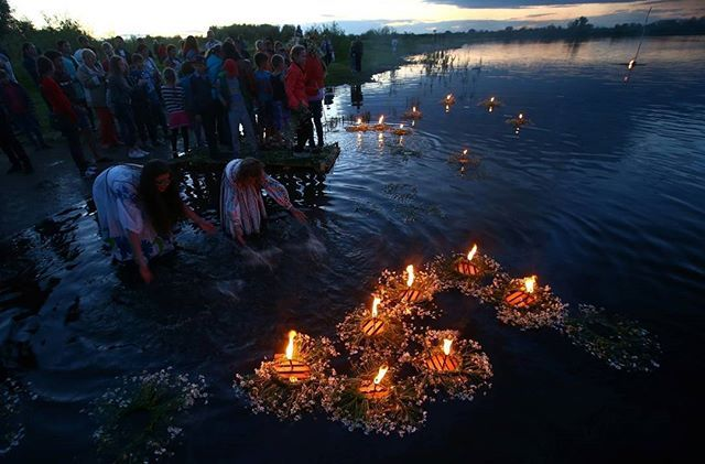 Belarusian girls float wreaths with candles as they take part in the Ivan Kupala festival in the town of Turov, Belarus, July 6, 2017. The traditional festival celebrates the summer solstice with overnight festivities such as people singing and dancing before jumping over campfires, as they believe it will purge them of their sins and make them healthier. REUTERS/Vasily Fedosenko #Belarus #Europe