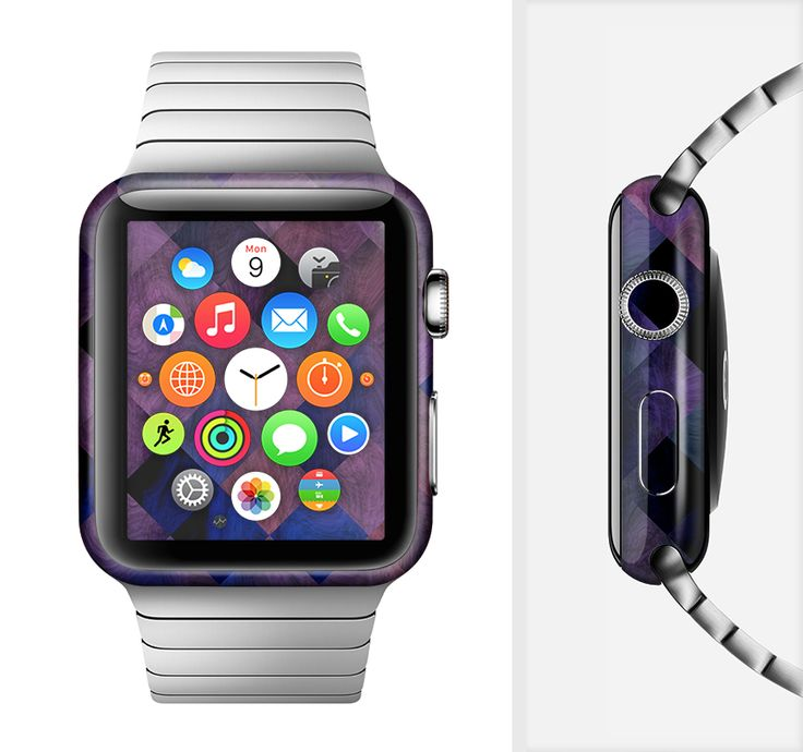 The Dark Purple Highlighted Tile Pattern Full-Body Skin Set for the Apple Watch