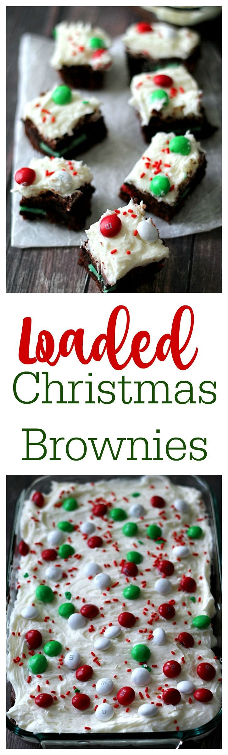 Loaded Christmas Brownies! Brownies stuffed with Oreos and topped with peppermint buttercream, yum!!