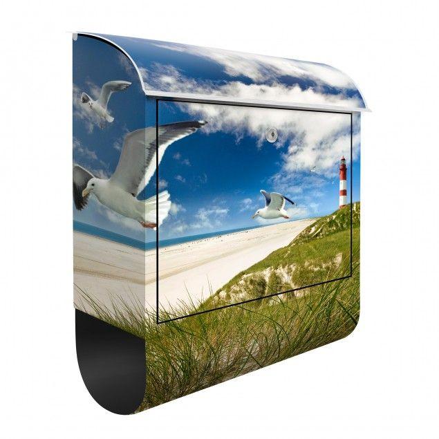 Briefkasten mit Zeitungsfach – Dune Breeze - Hausbriefkasten #Briefkasten #Postbox #letterbox #Postkasten #retro #möve #meer #ostsee #düne #strand